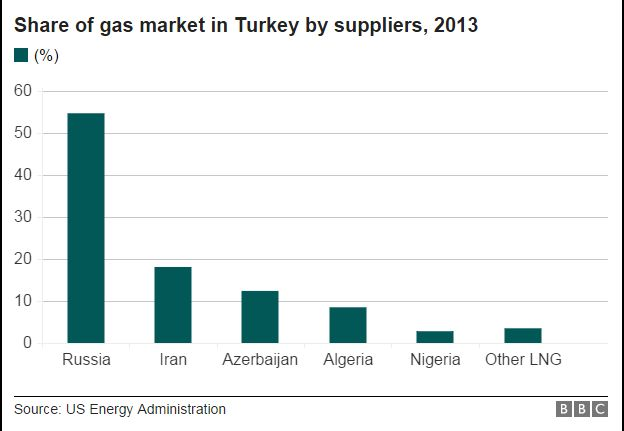Graph showing share of gas market in Turkey