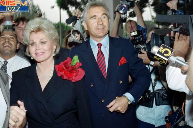 This file photo taken on September 11, 1989 shows US actress Zsa Zsa Gabor and her husband Frederick von Anhalt.