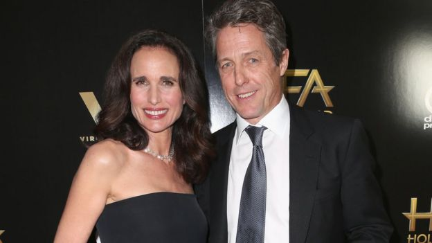 Hugh Grant and Andie MacDowell at Hollywood Film Awards