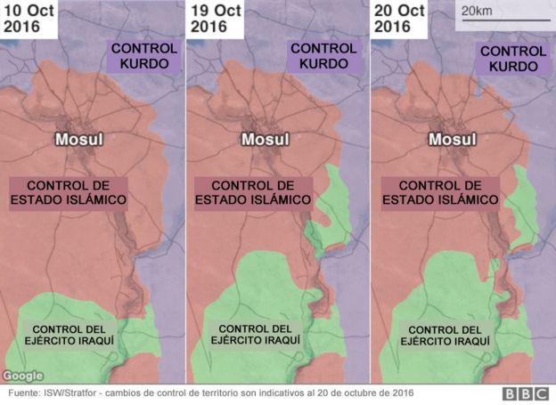 Tres mapas muestran cómo el ejército iraquí y los kurdos han avanzado para recuperar Mosul de EI