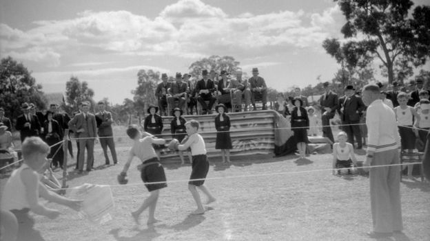A demonstration of boxing at the Fairbridge school in Pinjarra, Western Australia