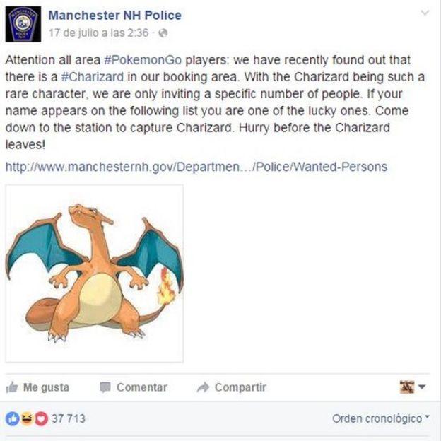 La entrada sobre Pokémon Go de la policía de New Hampshire, Manchester
