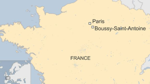 Map of France showing location of Paris and Boussy-Saint-Antoine