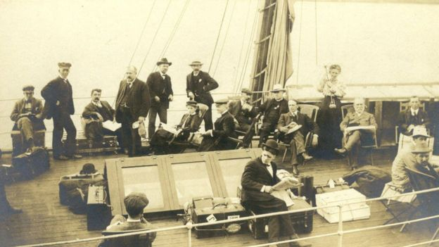 On board ship: Annie and Walter Maunder can be seen sitting together