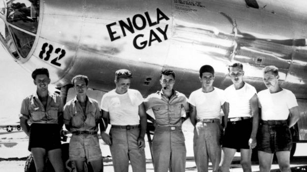 The ground crew of the B-29 'Enola Gay' which atom-bombed Hiroshima, Japan. Col. Paul W. Tibbets, the pilot is the centre.