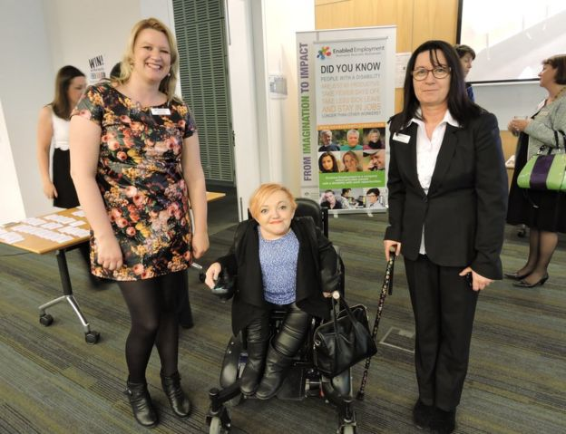 Jessica May (left) with Stella Young (centre)