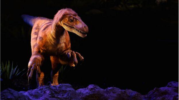 Reprodução de dinossauro em museu