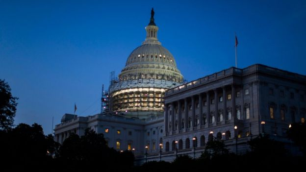 The U.S. Capitol is seen at dusk as Democratic members of Congress stage a