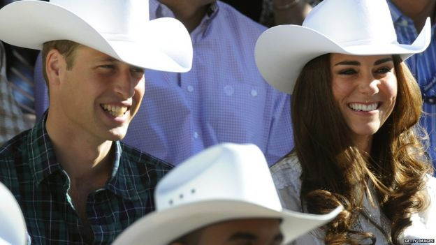 Prince William and Catherine, the Duchess of Cambridge smile at the start of the 2011 Calgary Stampede Parade in Calgary, Alberta on their nine-day tour in Canada July 8, 2011.