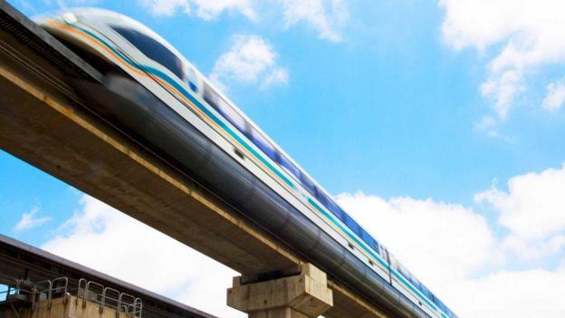 El tren sobre rieles aéreos