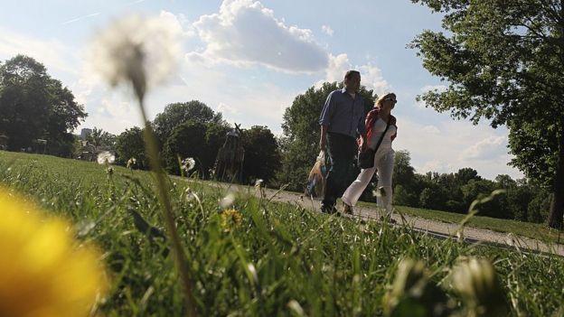 Люди идут по парку в Вене
