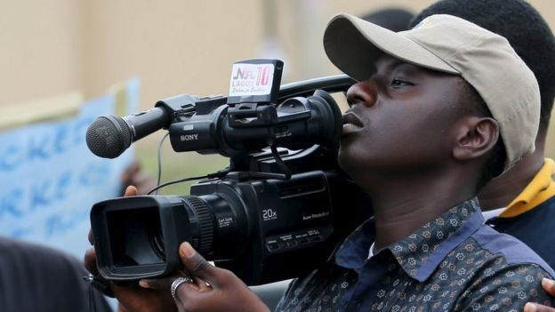 A camera man in Lagos, 28 October 2015