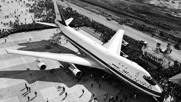 The first Boeing 747 rolled out of the company's plant in Washington state in September 1968