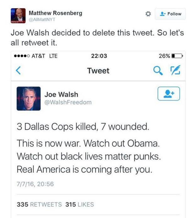 Tweet from Joe Walsh