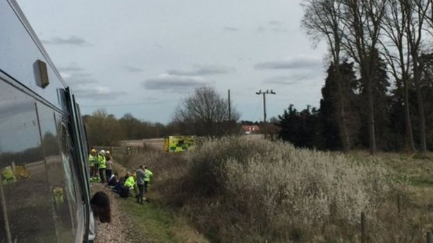 Train/tractor crash Roudham