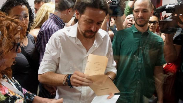 Podemos leader, Pablo Iglesias votes in Madrid