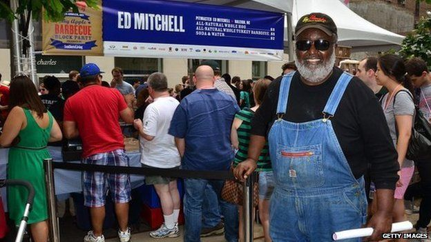 Ed Mitchell at his barbecue stand at Big Apple Barbecue