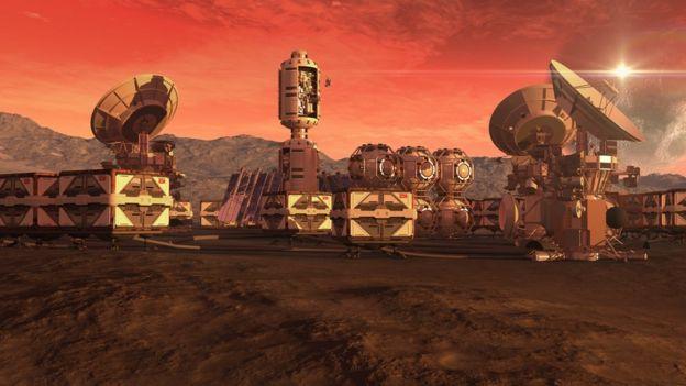 Ilustração da colonização de Marte