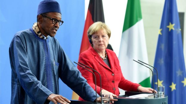 German Chancellor Angela Merkel (R) and the President of Nigeria, Muhammadu Buhari, give a press conference at the federal chancellery in Berlin, Germany, 14 October 2016.