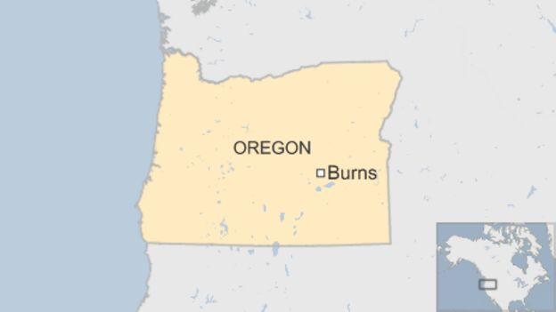 Map of Burns, Oregon