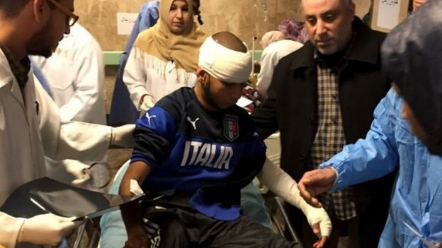 An injured man receives treatment inside a hospital in Misurata, Libya January 7, 2016