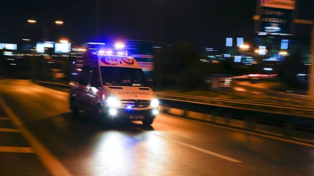 An ambulance heads for Istanbul's Ataturk airport, 28 June