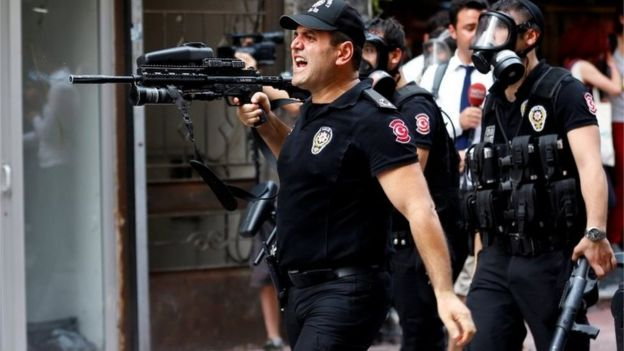 Riot police use rubber pellets to disperse LGBT rights activists as they try to gather for a pride parade banned by Istanbul authorities 26/06/2016.