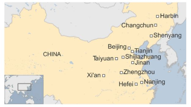 Map of China north east major cities