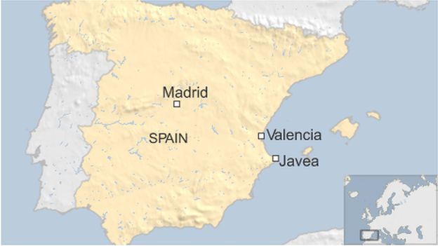 A map showing Javea in Spain