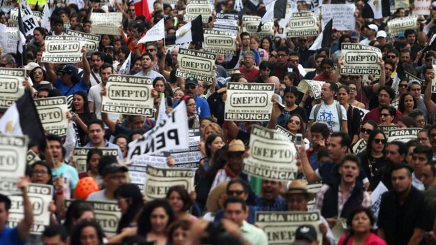 Manifestación contra Peña Nieto.