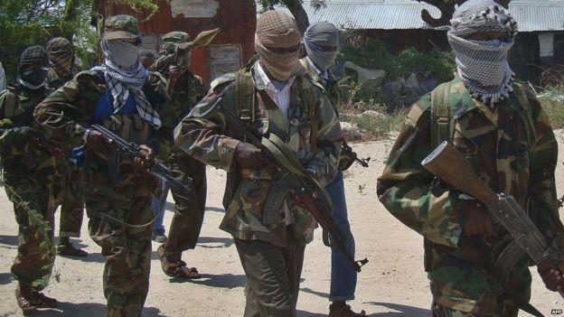 A stock photo of al-Shabab recruits in Mogadishu, Somalia