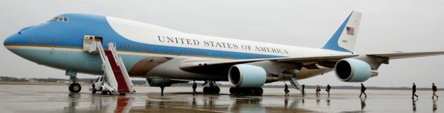 Air Force One ikiwa kituo cha Joint Base Andrews huko Maryland tarehe 6 Disemba mwaka 2016