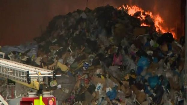 Rubbish at a recycling plant is on fire in west Belfast