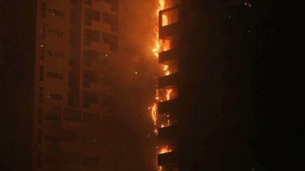 Fire and smoke billow from a high-rise building in Ajman, United Arab Emirates, early Tuesday, March 29, 2016