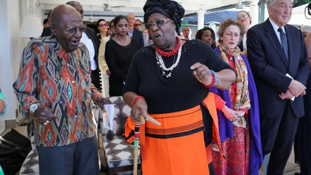 Desmond Tutu celebrating at his daughter's wedding