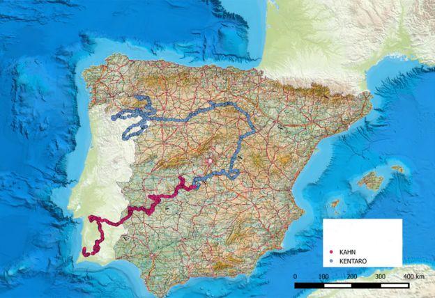 Map showing routes taken by Kahn and Kentaro