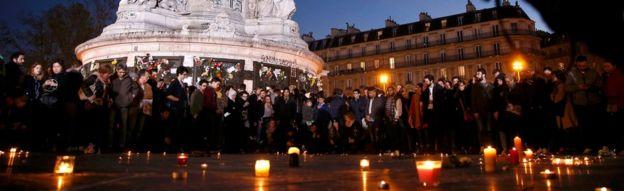 Candle lit vigil in Place de la Republique