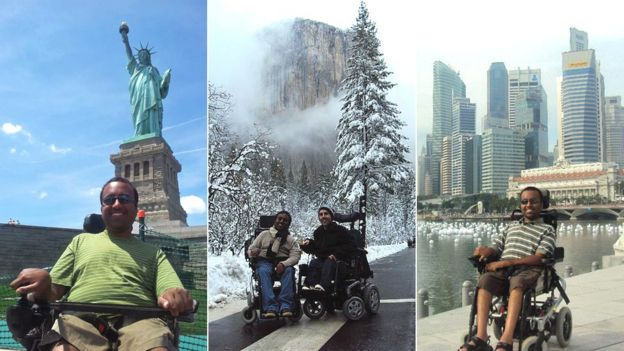 Three of Srin's holiday photos - in New York, with Martyn in Yosemite, and in Singapore