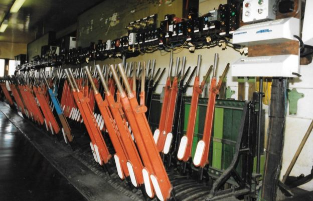 Interior of traditional signal box
