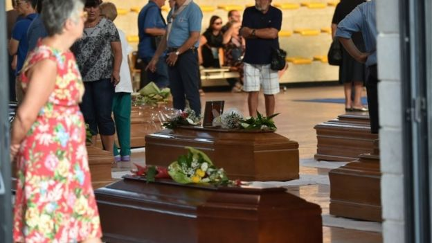 Coffins of victims of Italy's earthquake