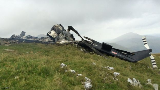 Wreckage of the helicopter
