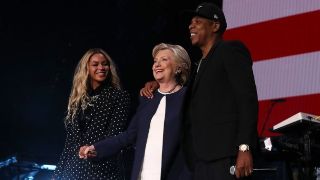 Singer Beyonce and rapper Jay Z with Hillary Clinton at a Democratic election rally in Cleveland, Ohio (4 November)