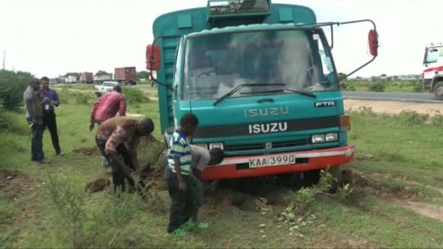 Truck stuck in mud in Kenya
