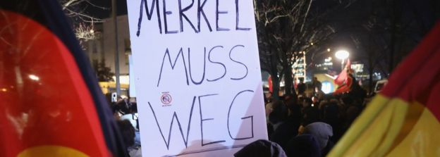 A placard held by AfD supporters in Berlin in December 2016