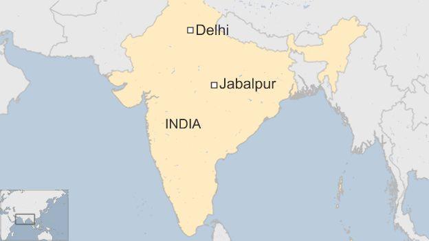 Map showing location of Jabalpur
