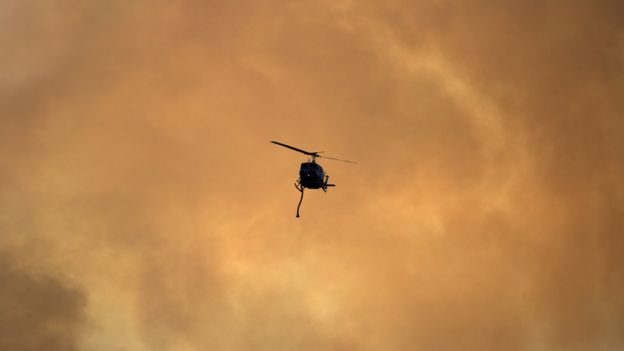 Helicopter in California wildfire