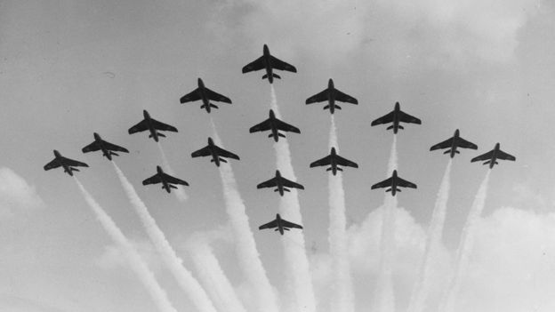 Hawker Hunters in formation, Farnborough air show, Sept 1959