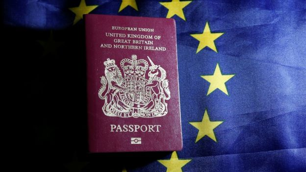 A passport in front of a European Union flag