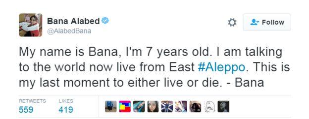 Tweet by Bana, saying