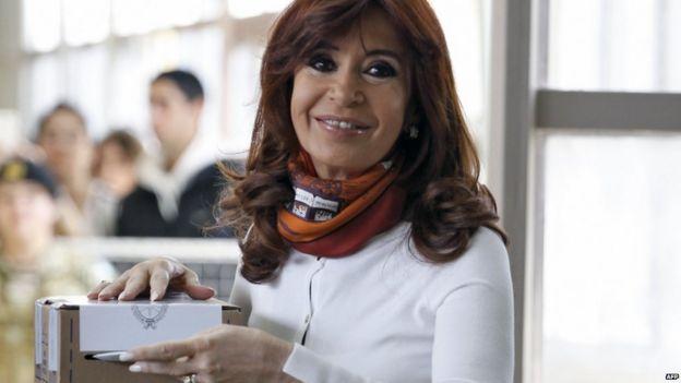 Cristina Fernandez de Kirchner voting in Rio Gallegos